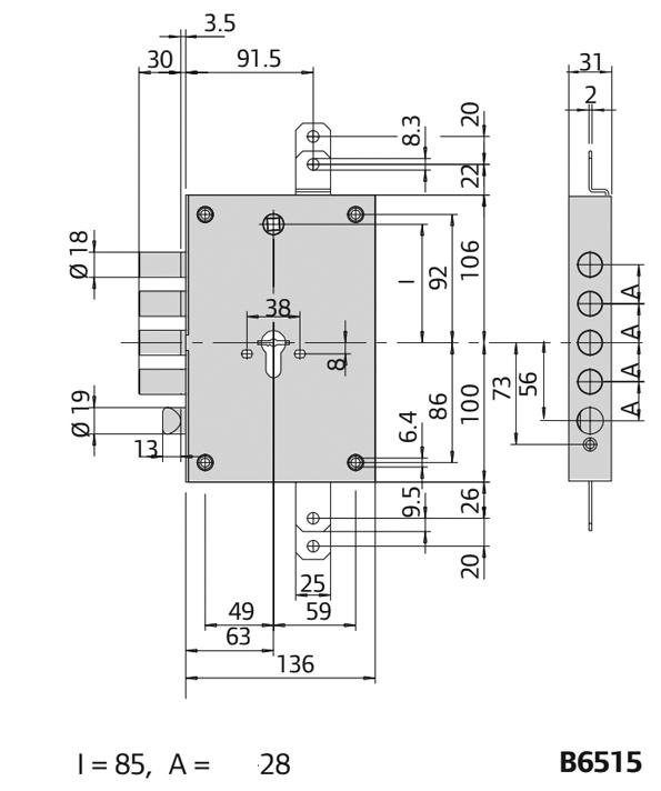 Ολοκληρωμένο σετ κλειδαριάς ασφαλείας για θωρακισμένες πόρτες Cisa Revolution Pro με κύλινδρο AGB 9000,defender CISA